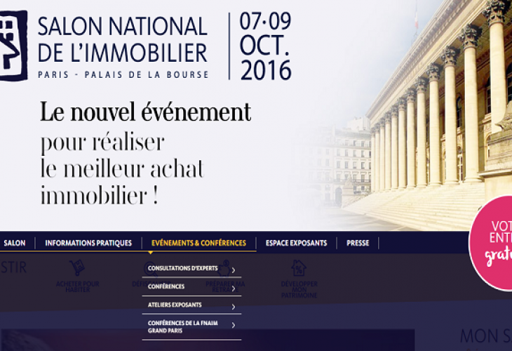 Rendez-vous au Salon national de l'immobilier de Paris du 7 au 9 octobre 2016