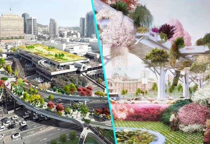 Un jardin suspendu pour remplacer une autoroute à Séoul